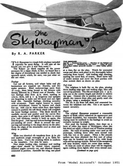 Skywayman model airplane plan
