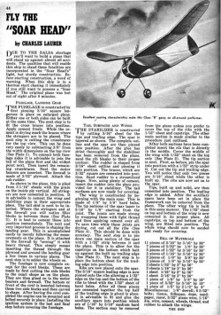 Soar Head model airplane plan