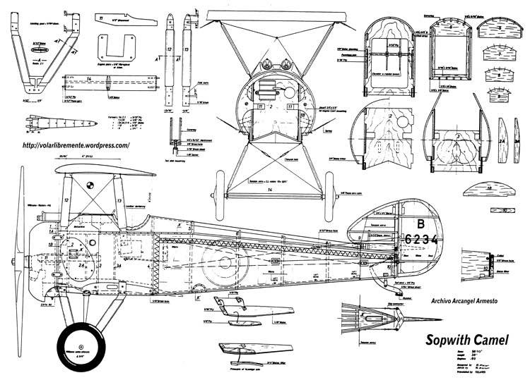 Sopwith Camel 56in model airplane plan