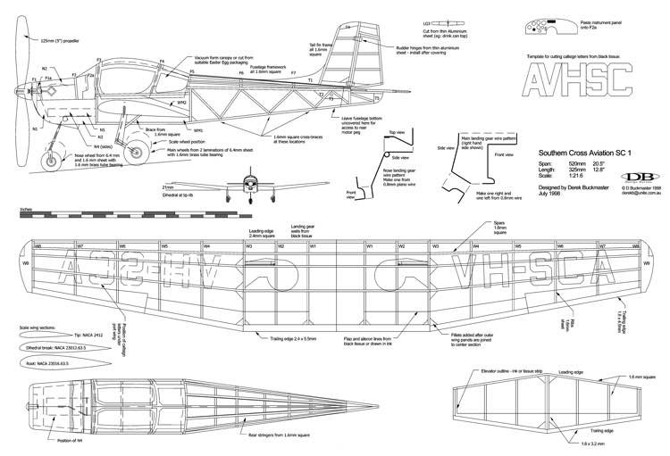 Southern Cross Aviation SC1 model airplane plan