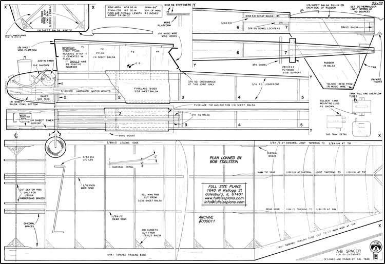 Spacer Taibi model airplane plan