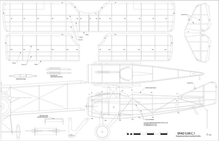 Spad model airplane plan