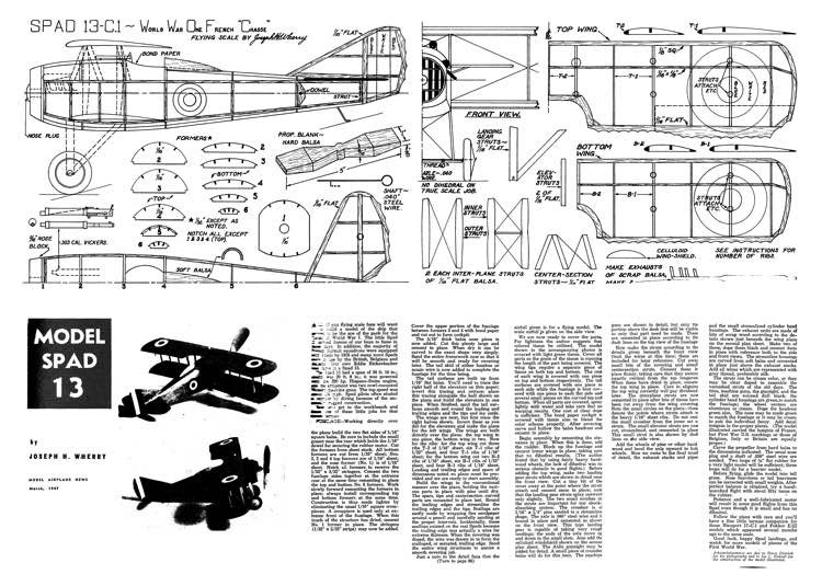 Spad 13-C1 model airplane plan