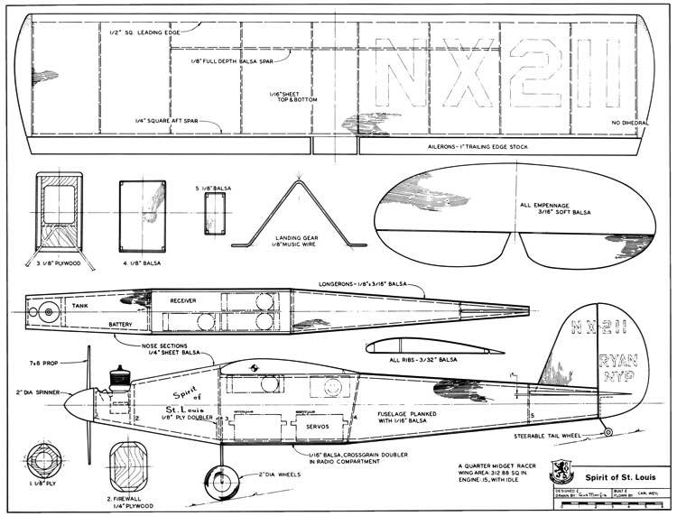 Spirit of St Louis 36in model airplane plan