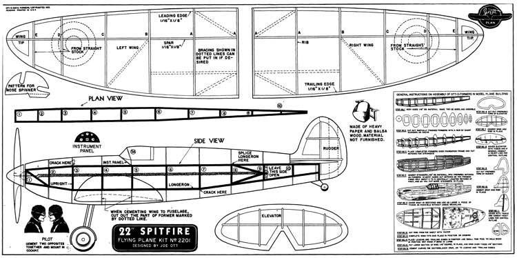 Spitfire 22in Joe Ott model airplane plan