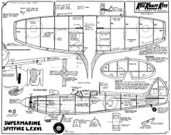 Spitfire LF XVI inc JD McHard pencilling model airplane plan