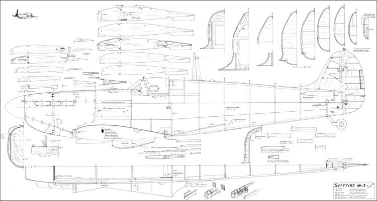 Spitfire Mk-I White 72in model airplane plan