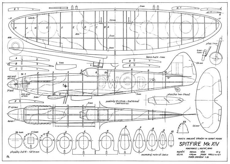 Spitfire Mk XIV 22in model airplane plan