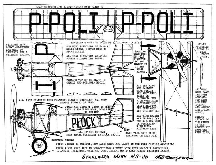 Stahlwerk Mark MS 11b 13in model airplane plan