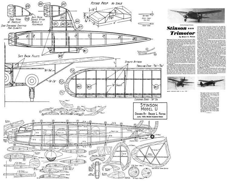 Stinson Trimotor model airplane plan