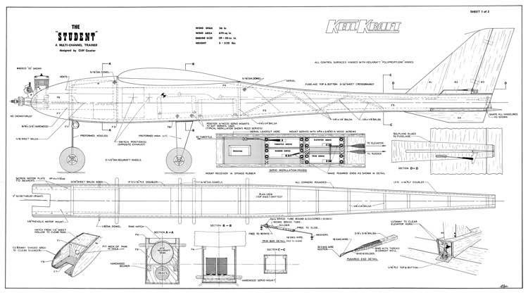Student KK 56in model airplane plan