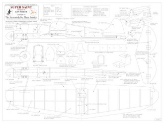 Super Saint BW Print model airplane plan
