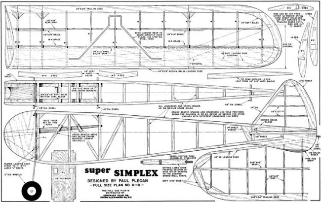 Super Simplex 54in model airplane plan