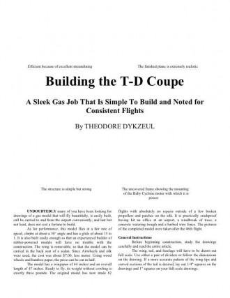 TDCoupe model airplane plan