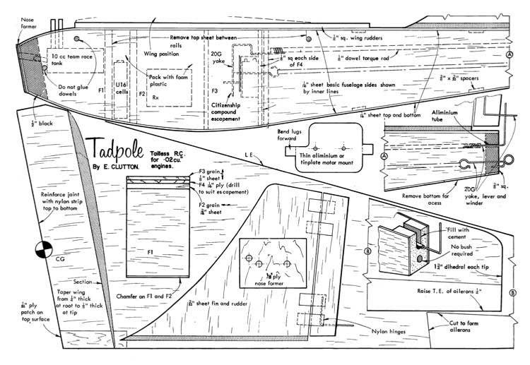 Tadpole RC model airplane plan
