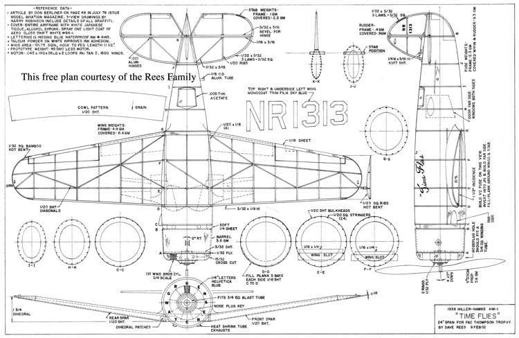 Hawks Miller HM-1 Time Flies model airplane plan