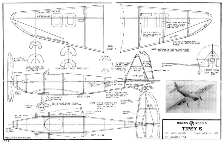 Tipsy S Megow 15in model airplane plan