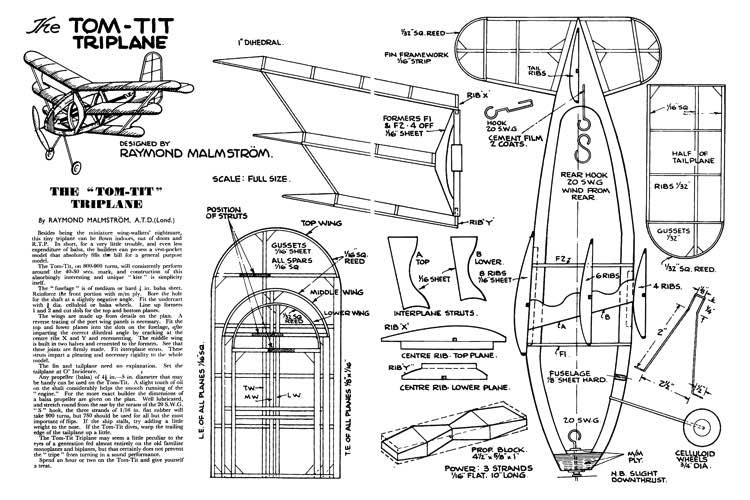 TomTitTriplane model airplane plan