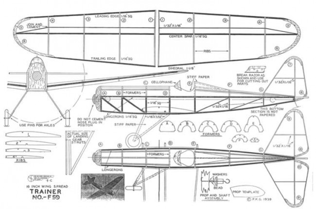 Trainer-F59 Greyscale model airplane plan