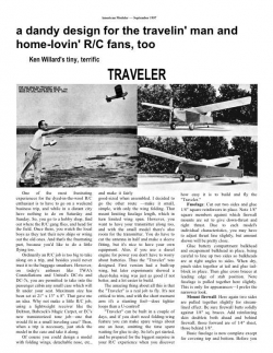 Traveler model airplane plan