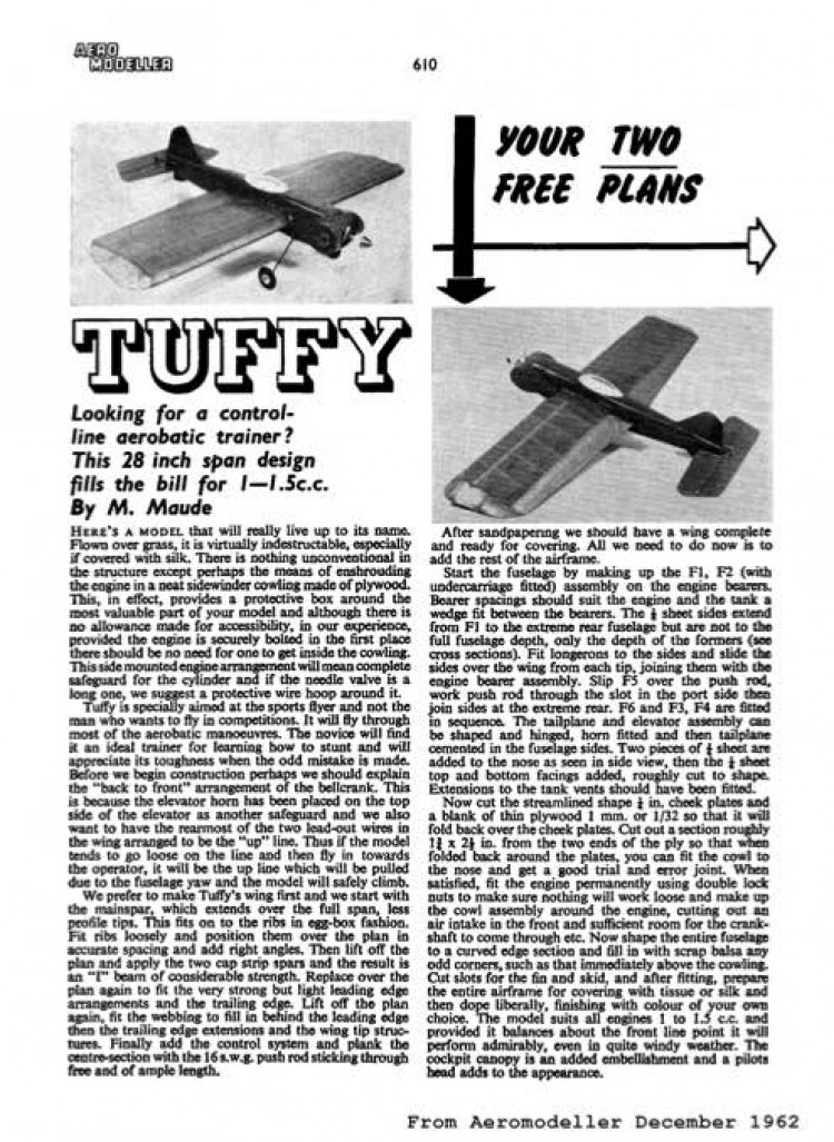 Tuffy model airplane plan