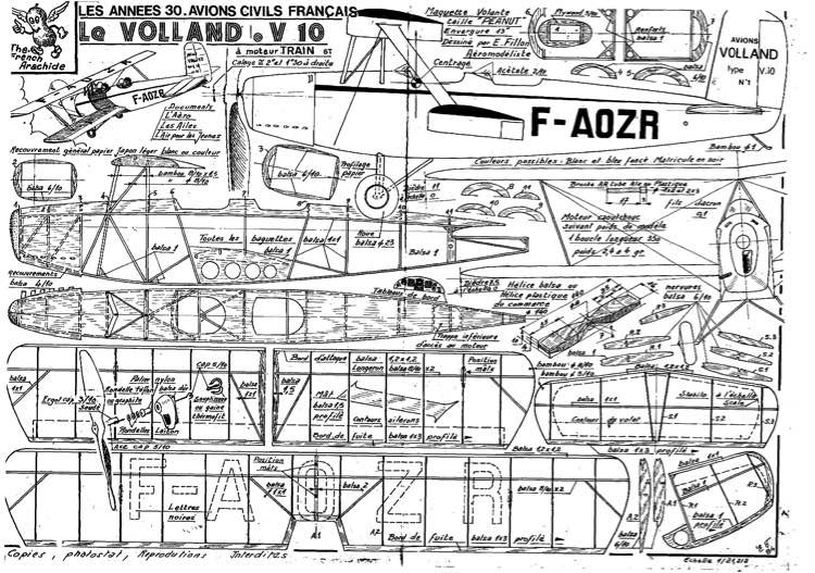 VOLLAND V10 model airplane plan