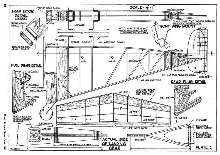 Vee Gas p1 model airplane plan