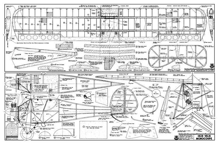 Velie Monocoupe Sports model airplane plan