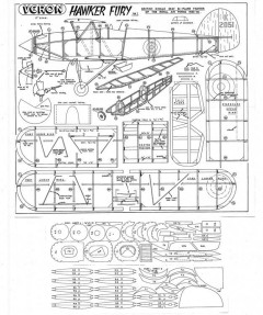 Veron Hawker Fury model airplane plan