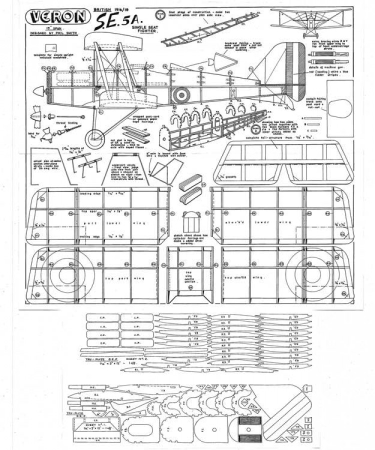 Veron Se5a model airplane plan