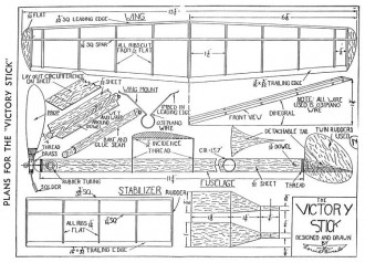 Victory Stick Louis Bucalo 13.75in model airplane plan