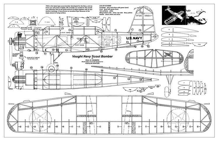 Vought Navy Scout Bomber model airplane plan