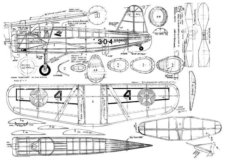 Vought Kingfisher model airplane plan