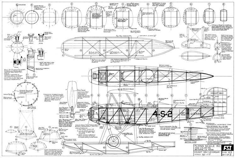 Vought O2U-1 Corsair model airplane plan