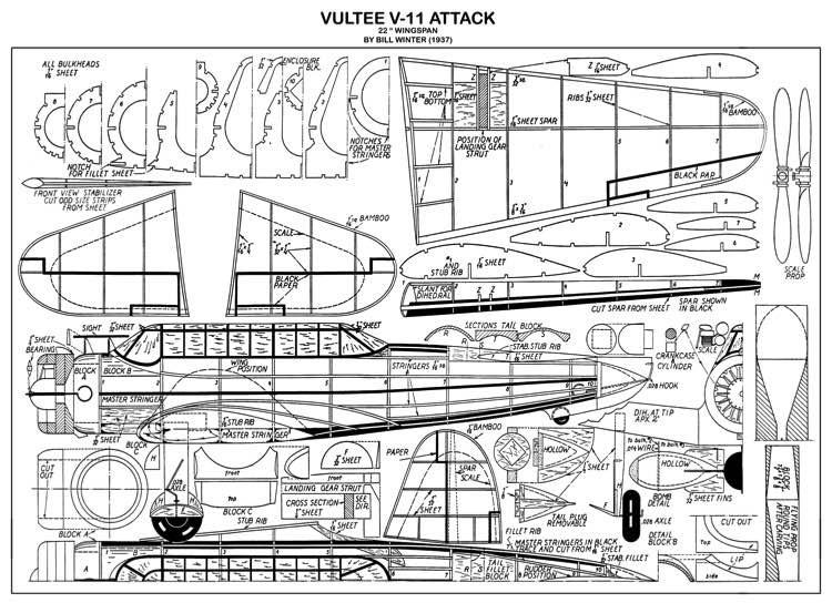 Vultee Attack model airplane plan
