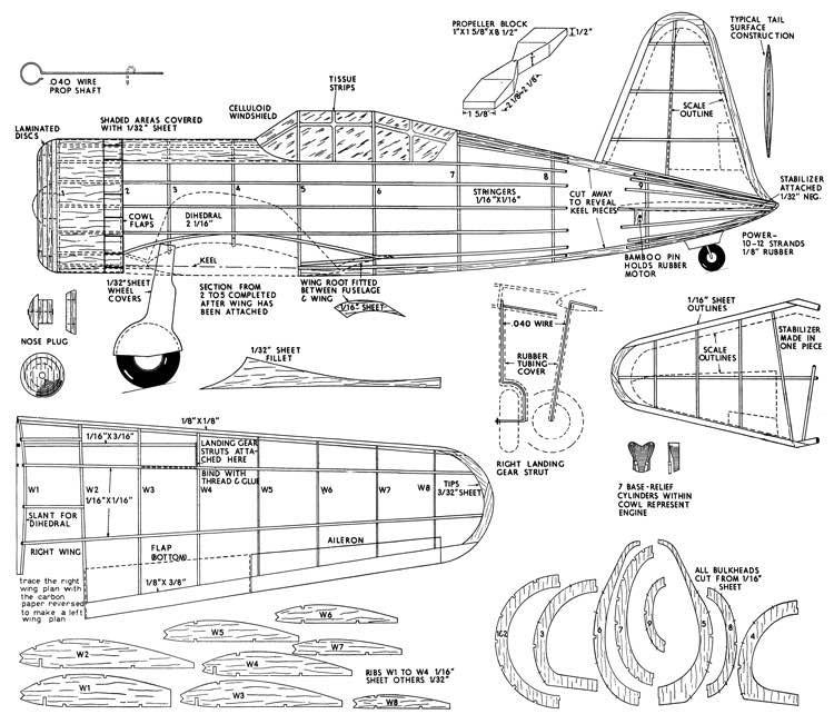 Vultee Vanguard model airplane plan