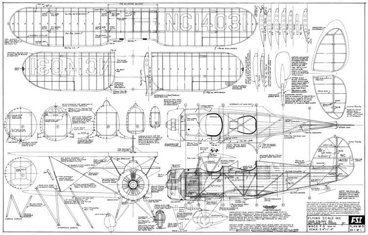 Waco F-3 model airplane plan