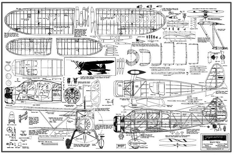 Waco YQC model airplane plan
