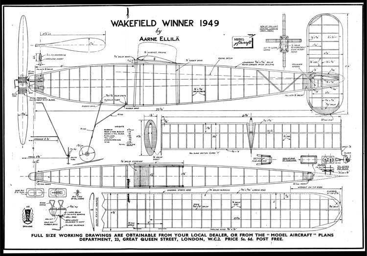WakefieldWinner model airplane plan