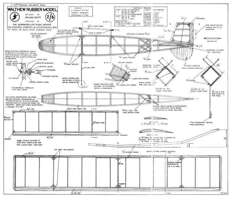 Walthew Rubber Model model airplane plan