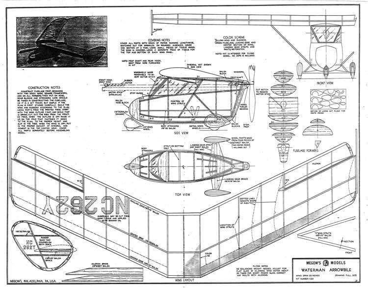 Waterman Arrowbile Megow 23in model airplane plan