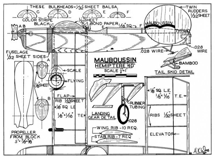 Weiss Mauboussin p1 model airplane plan