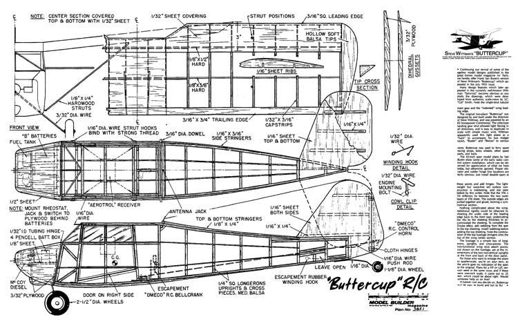 Whittman Buttercup model airplane plan