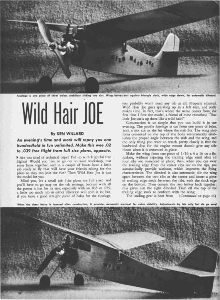 Wild Hair Joe model airplane plan