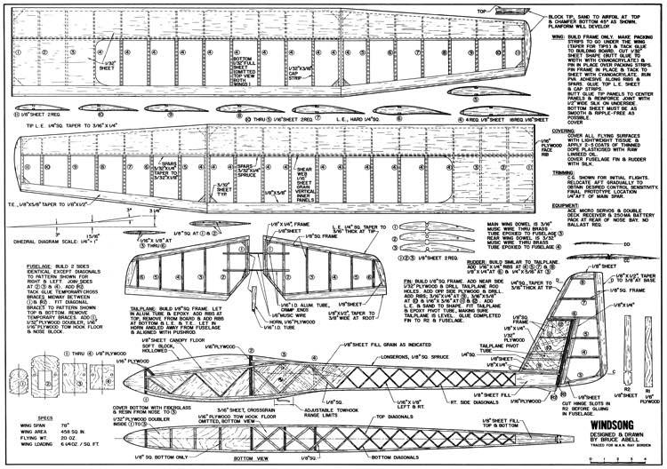 Windsong 78in model airplane plan