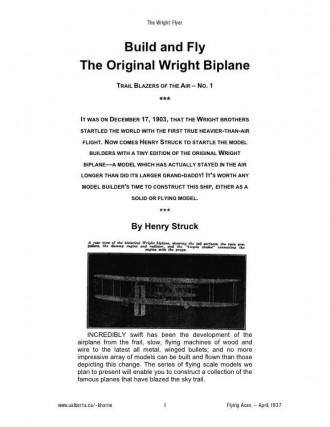 Wright Flyer model airplane plan