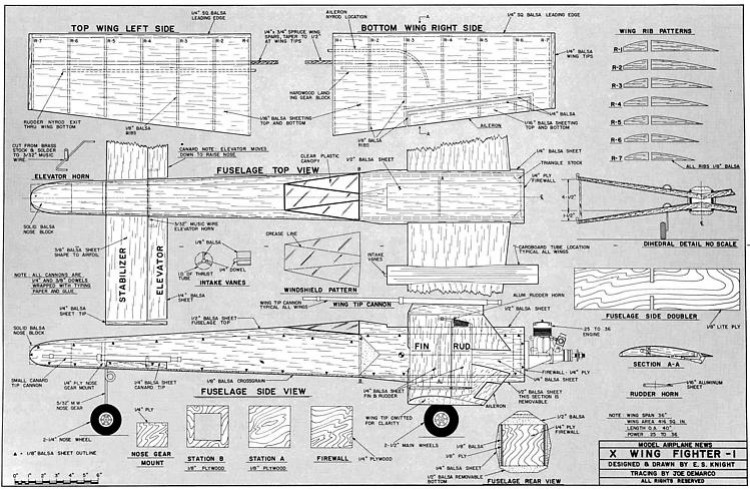 X Wing Fighter model airplane plan