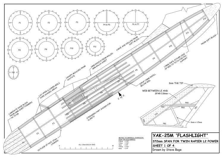Yak-25M Flashlight model airplane plan