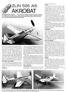 Zlin 526 Acrobat model airplane plan