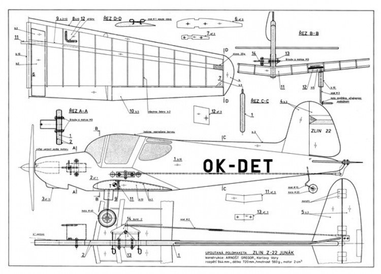 Zlin Z-22 model airplane plan